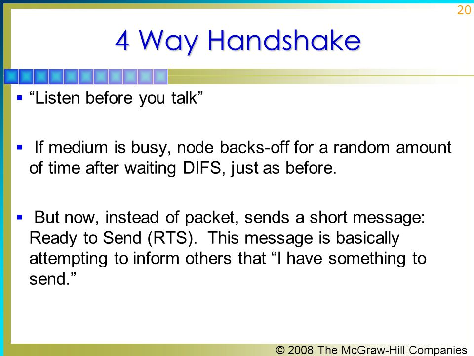 © 2008 The McGraw-Hill Companies 21 4 Way Handshake (Cont'd)  RTS contains destination address and duration of message.