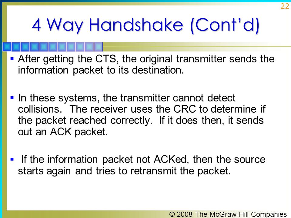 © 2008 The McGraw-Hill Companies 22 4 Way Handshake (Cont'd)  After getting the CTS, the original transmitter sends the information packet to its destination.