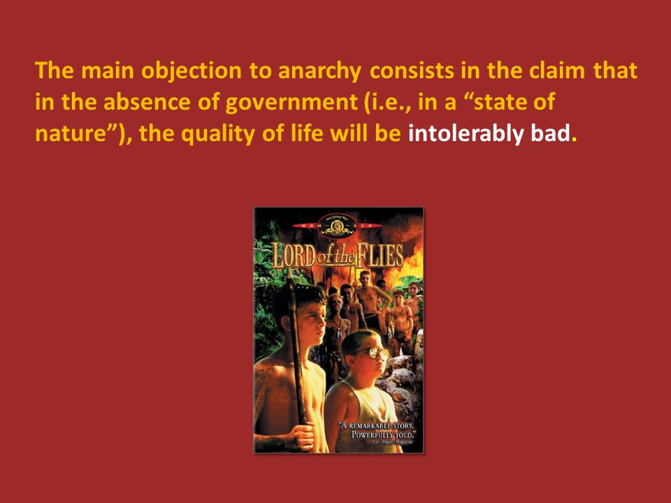 "The main objection to anarchy consists in the claim that in the absence of government (i.e., in a ""state of nature""), the quality of life will be into"