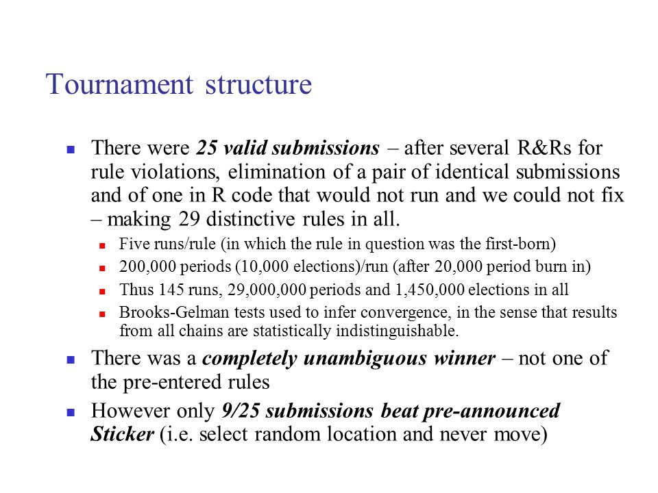Tournament structure There were 25 valid submissions – after several R&Rs for rule violations, elimination of a pair of identical submissions and of o