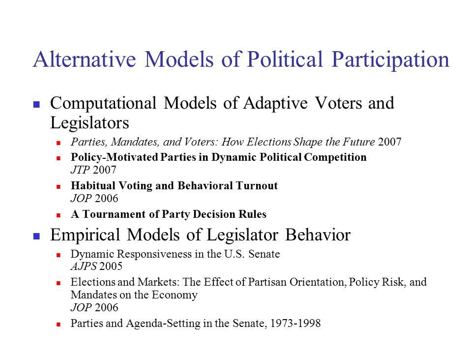 Alternative Models of Political Participation Computational Models of Adaptive Voters and Legislators Parties, Mandates, and Voters: How Elections Sha