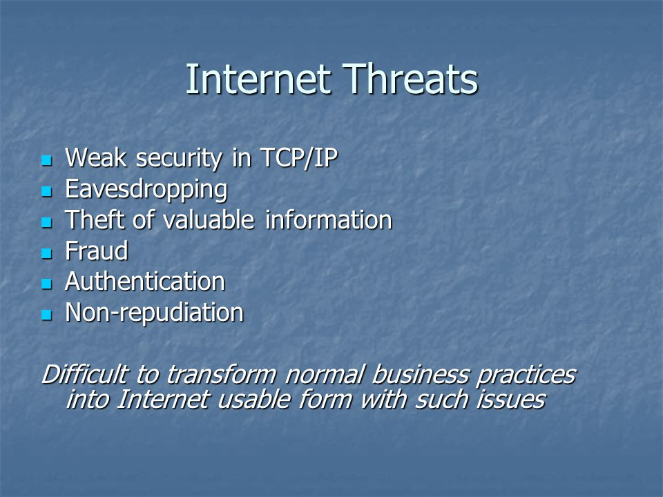 Internet Threats Weak security in TCP/IP Weak security in TCP/IP Eavesdropping Eavesdropping Theft of valuable information Theft of valuable information Fraud Fraud Authentication Authentication Non-repudiation Non-repudiation Difficult to transform normal business practices into Internet usable form with such issues