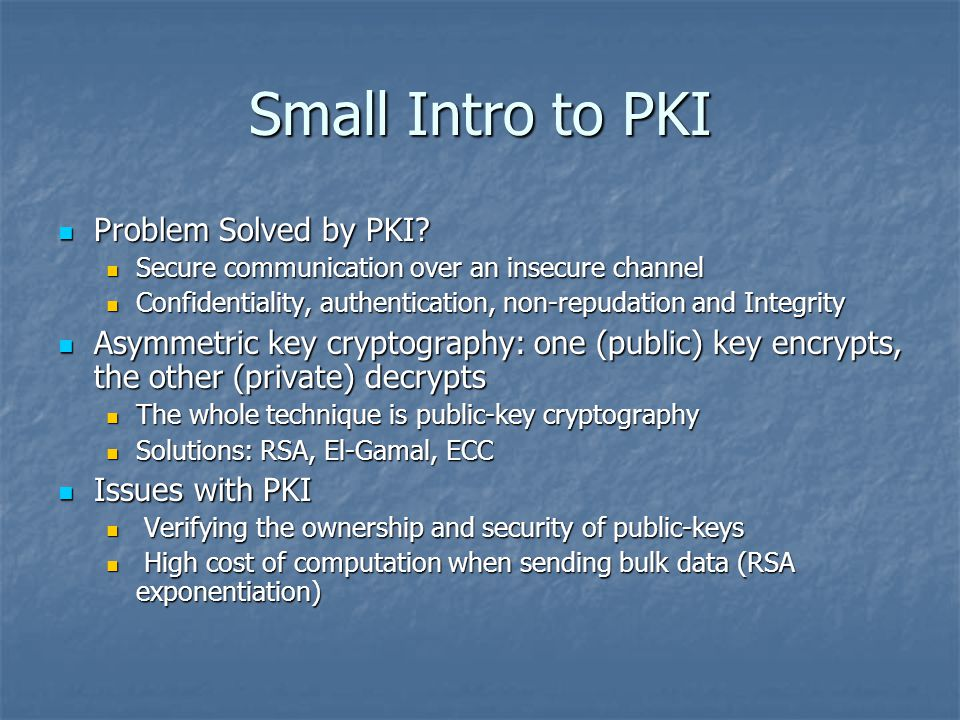 Small Intro to PKI Problem Solved by PKI. Problem Solved by PKI.