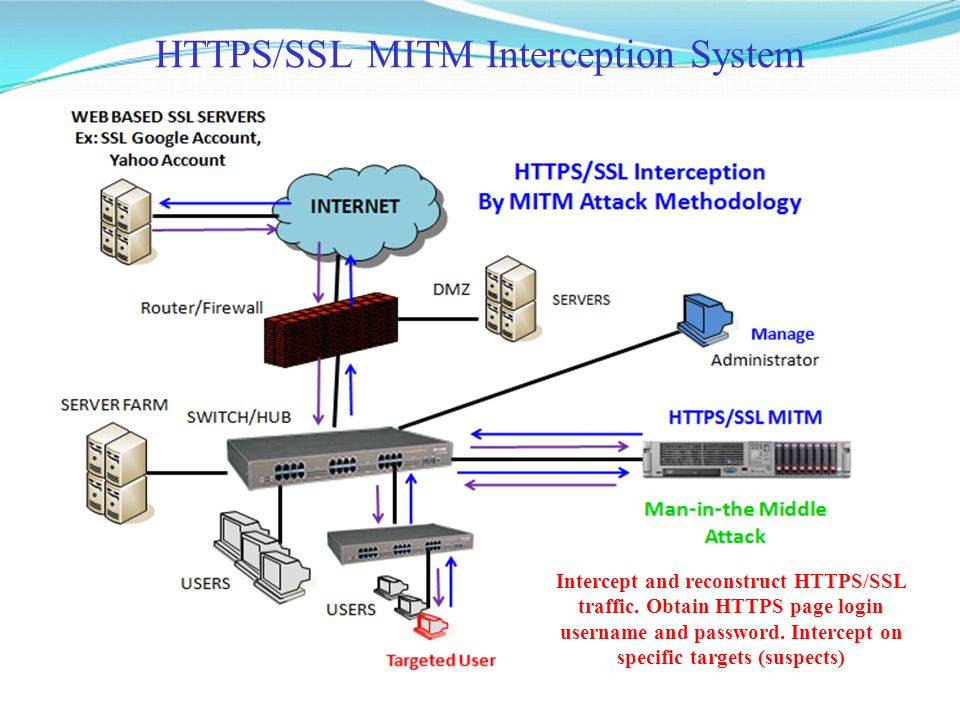 HTTPS/SSL MITM Interception System Intercept and reconstruct HTTPS/SSL traffic. Obtain HTTPS page login username and password. Intercept on specific t