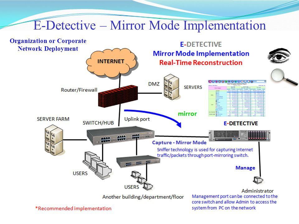 E-Detective – Mirror Mode Implementation Organization or Corporate Network Deployment