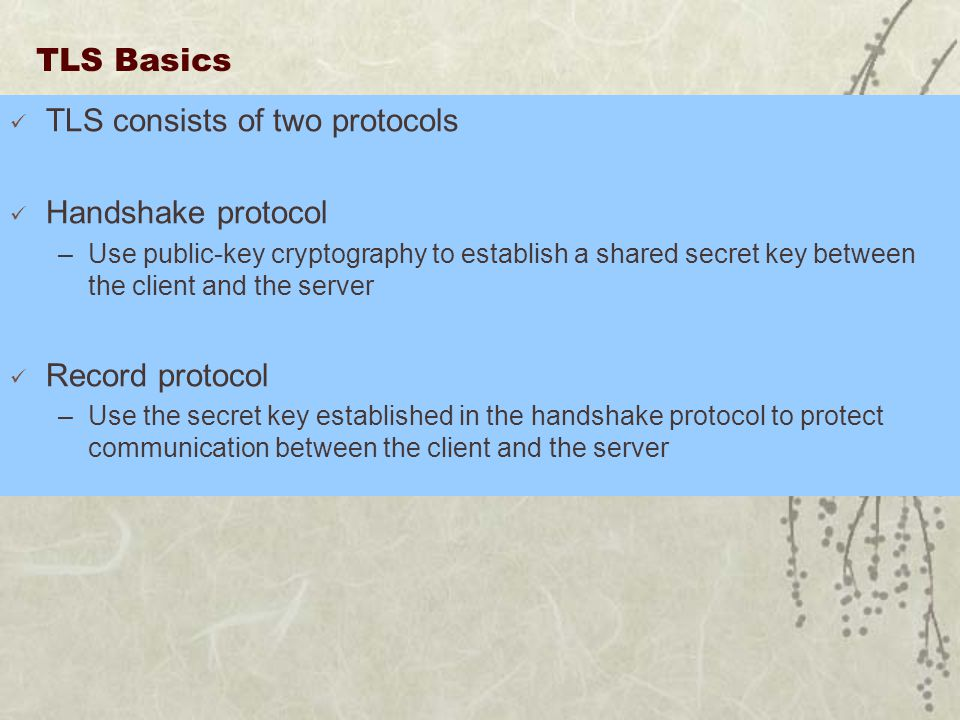 TLS Basics TLS consists of two protocols Handshake protocol –Use public-key cryptography to establish a shared secret key between the client and the server Record protocol –Use the secret key established in the handshake protocol to protect communication between the client and the server