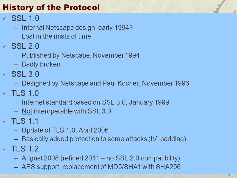 History of the Protocol SSL 1.0 –Internal Netscape design, early 1994.