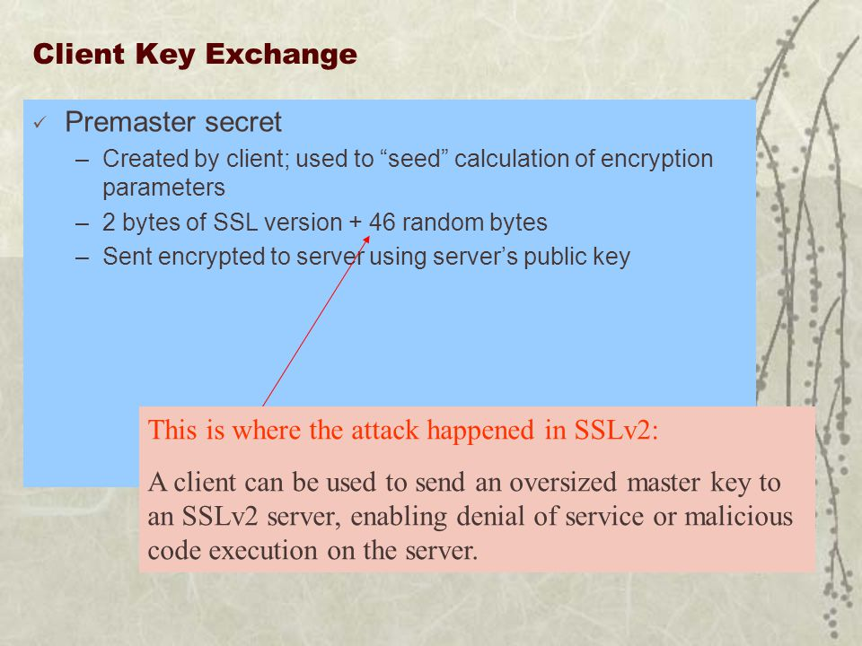 Client Key Exchange Premaster secret –Created by client; used to seed calculation of encryption parameters –2 bytes of SSL version + 46 random bytes –Sent encrypted to server using server's public key This is where the attack happened in SSLv2: A client can be used to send an oversized master key to an SSLv2 server, enabling denial of service or malicious code execution on the server.