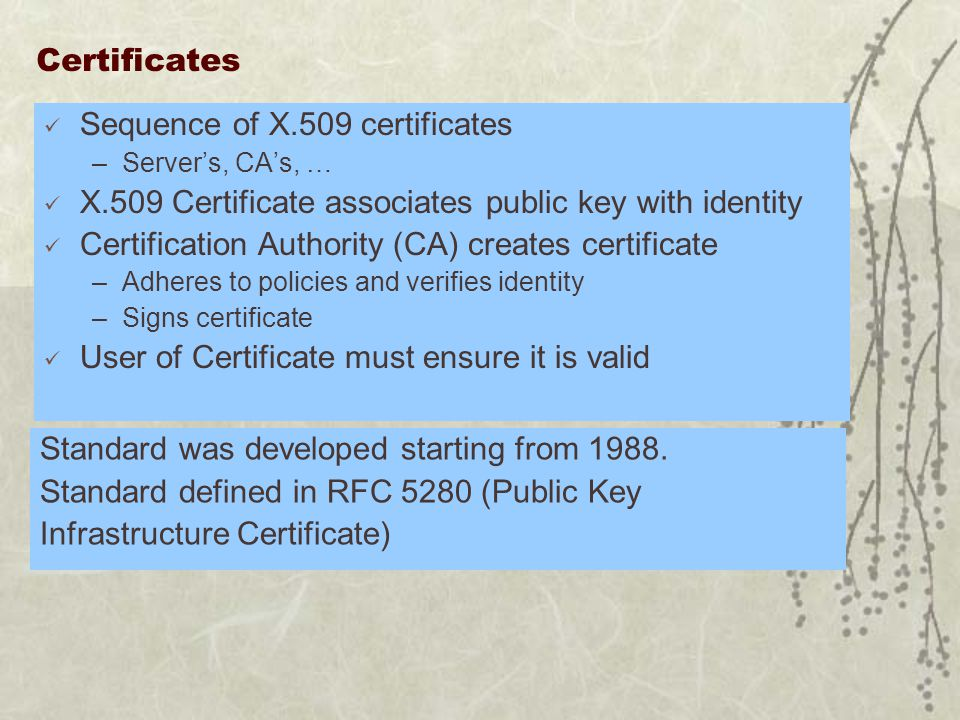 Certificates Sequence of X.509 certificates –Server's, CA's, … X.509 Certificate associates public key with identity Certification Authority (CA) creates certificate –Adheres to policies and verifies identity –Signs certificate User of Certificate must ensure it is valid Standard was developed starting from 1988.
