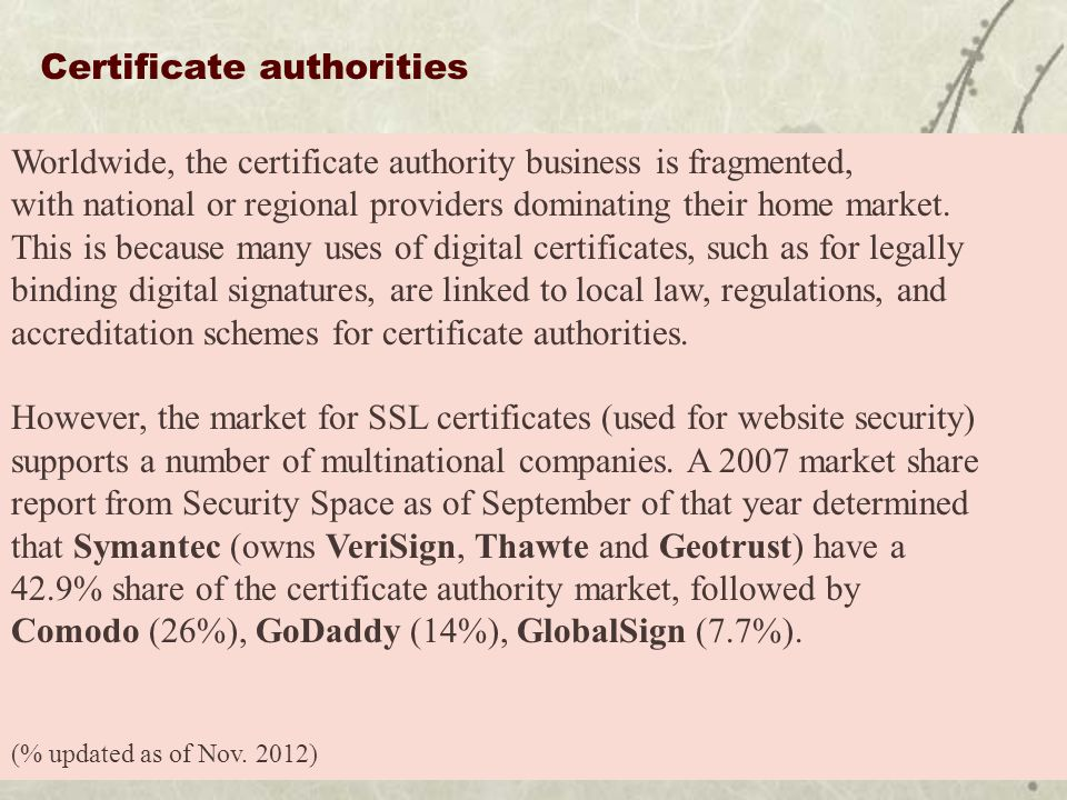 Certificate authorities Worldwide, the certificate authority business is fragmented, with national or regional providers dominating their home market.