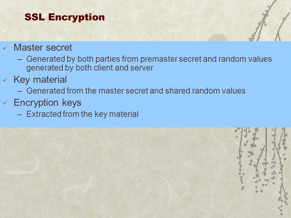 SSL Encryption Master secret –Generated by both parties from premaster secret and random values generated by both client and server Key material –Generated from the master secret and shared random values Encryption keys –Extracted from the key material