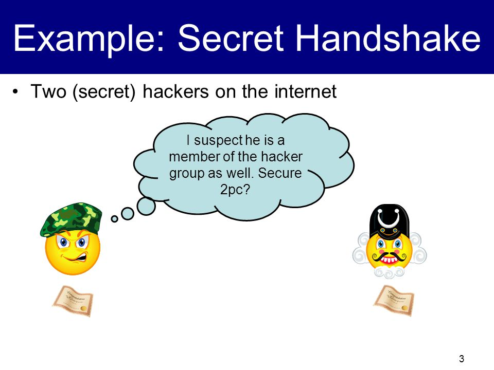 3 Example: Secret Handshake Two (secret) hackers on the internet I suspect he is a member of the hacker group as well.