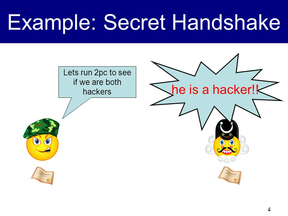 4 Example: Secret Handshake Lets run 2pc to see if we are both hackers he is a hacker!!