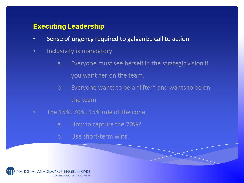 Executing Leadership Sense of urgency required to galvanize call to action Inclusivity is mandatory a.Everyone must see herself in the strategic vision if you want her on the team.