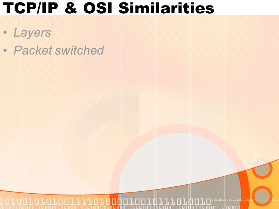 TCP/IP & OSI Similarities Layers Packet switched