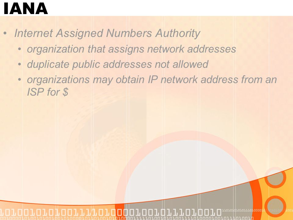 IANA Internet Assigned Numbers Authority organization that assigns network addresses duplicate public addresses not allowed organizations may obtain IP network address from an ISP for $
