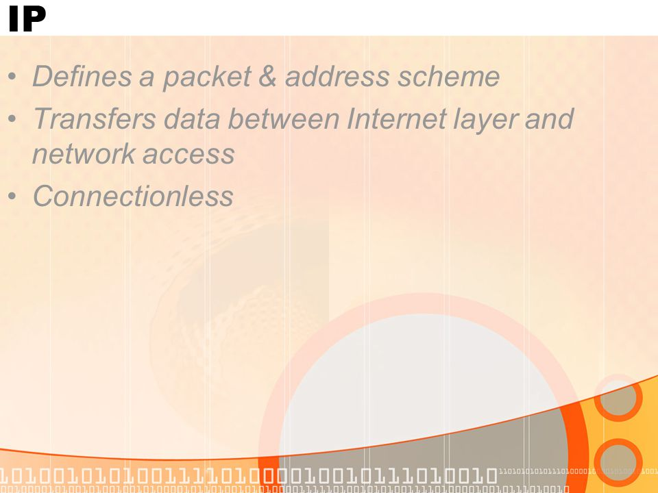 Network Access Software & drivers for NIC, ISDN & modems Mapping IP addresses to MAC addresses Encapsulating packets into frames Defines the connection with the medium