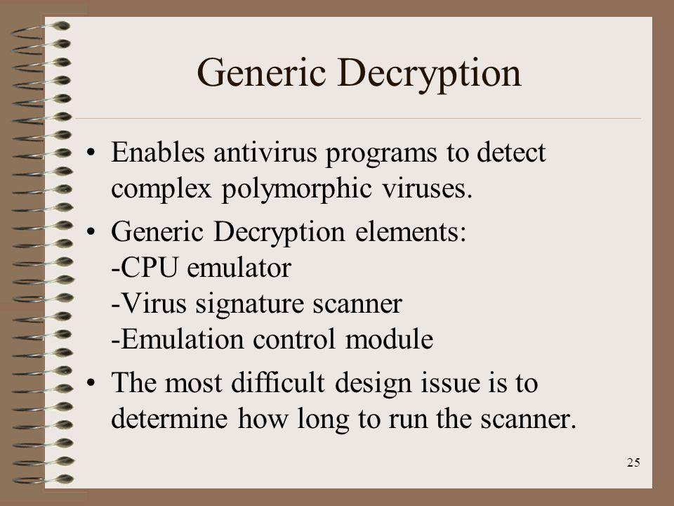 Generic Decryption Enables antivirus programs to detect complex polymorphic viruses.