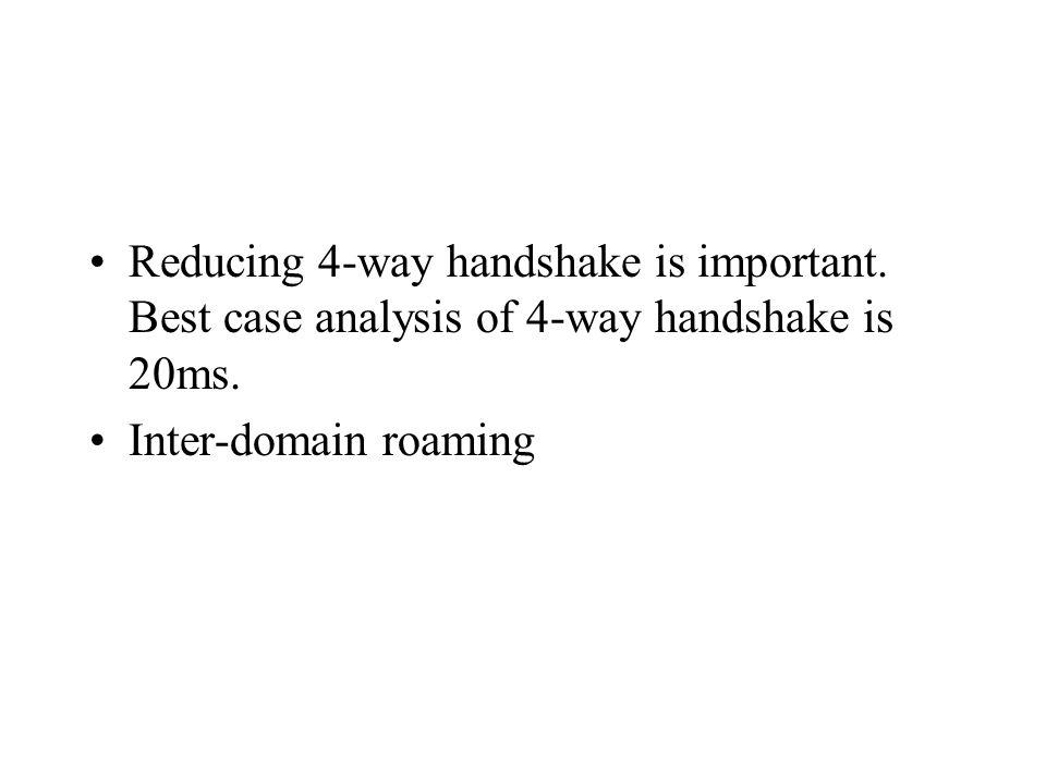 Reducing 4-way handshake is important. Best case analysis of 4-way handshake is 20ms.