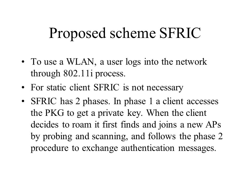 Proposed scheme SFRIC To use a WLAN, a user logs into the network through 802.11i process.