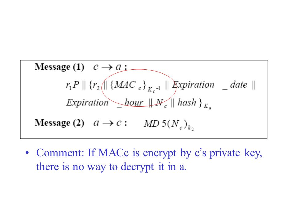 Comment: If MACc is encrypt by c ' s private key, there is no way to decrypt it in a.