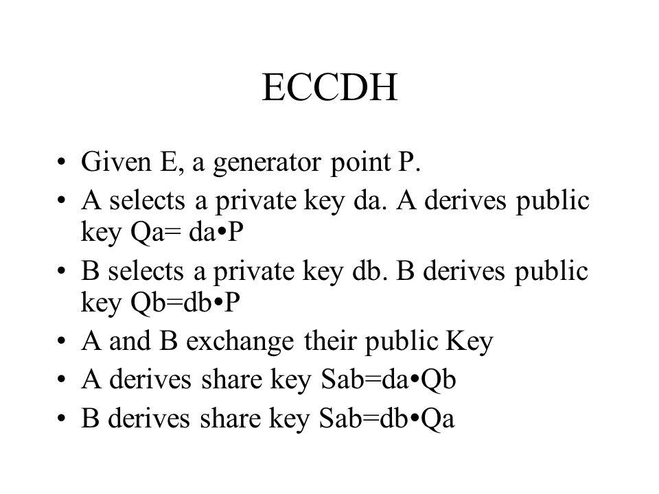 ECCDH Given E, a generator point P. A selects a private key da.