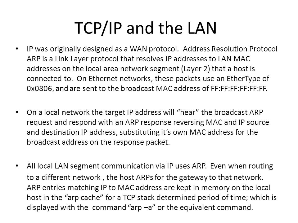 TCP/IP and the LAN IP was originally designed as a WAN protocol.