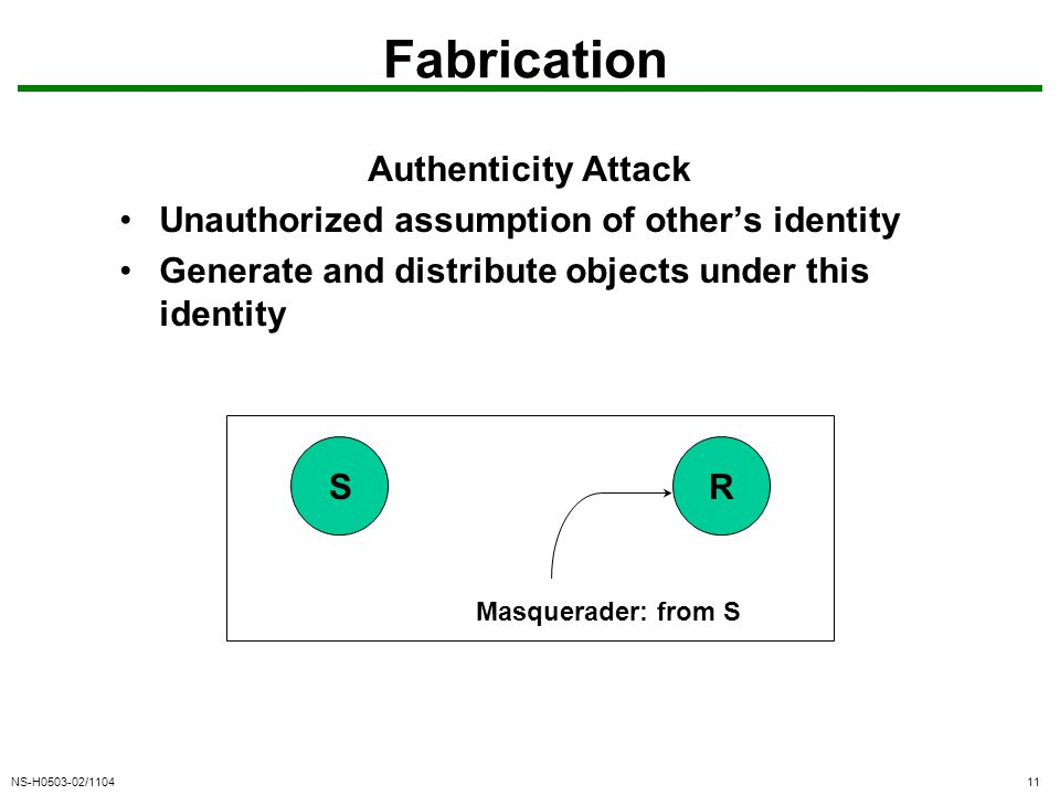 NS-H0503-02/110411 Fabrication Authenticity Attack Unauthorized assumption of other's identity Generate and distribute objects under this identity SR Masquerader: from S