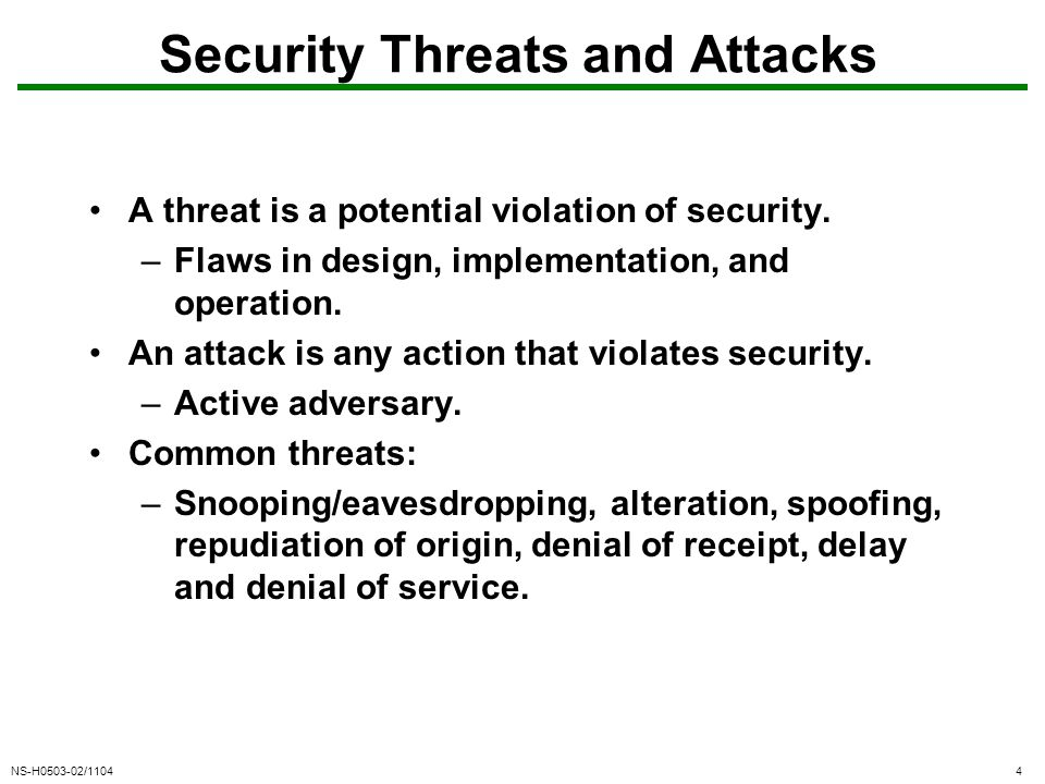 NS-H0503-02/11044 Security Threats and Attacks A threat is a potential violation of security.