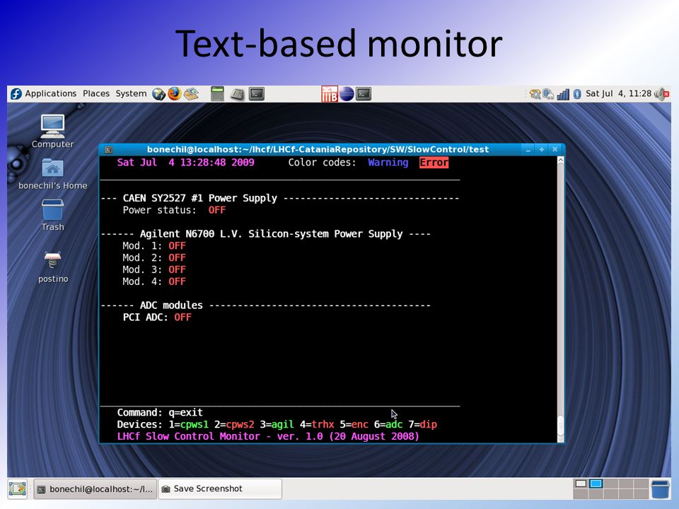 Text-based monitor