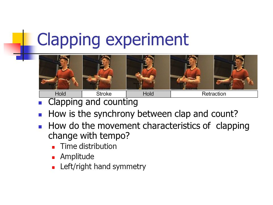 Clapping experiment Clapping and counting How is the synchrony between clap and count.