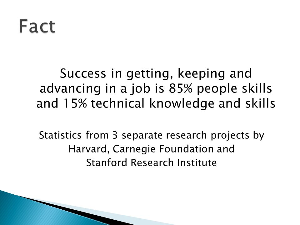 Success in getting, keeping and advancing in a job is 85% people skills and 15% technical knowledge and skills Statistics from 3 separate research projects by Harvard, Carnegie Foundation and Stanford Research Institute