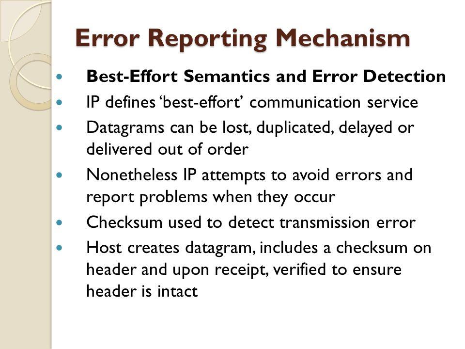 Error Reporting Mechanism Best-Effort Semantics and Error Detection IP defines 'best-effort' communication service Datagrams can be lost, duplicated,