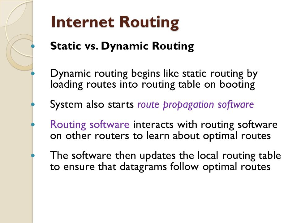 Internet Routing Internet Routing Static vs. Dynamic Routing Dynamic routing begins like static routing by loading routes into routing table on bootin