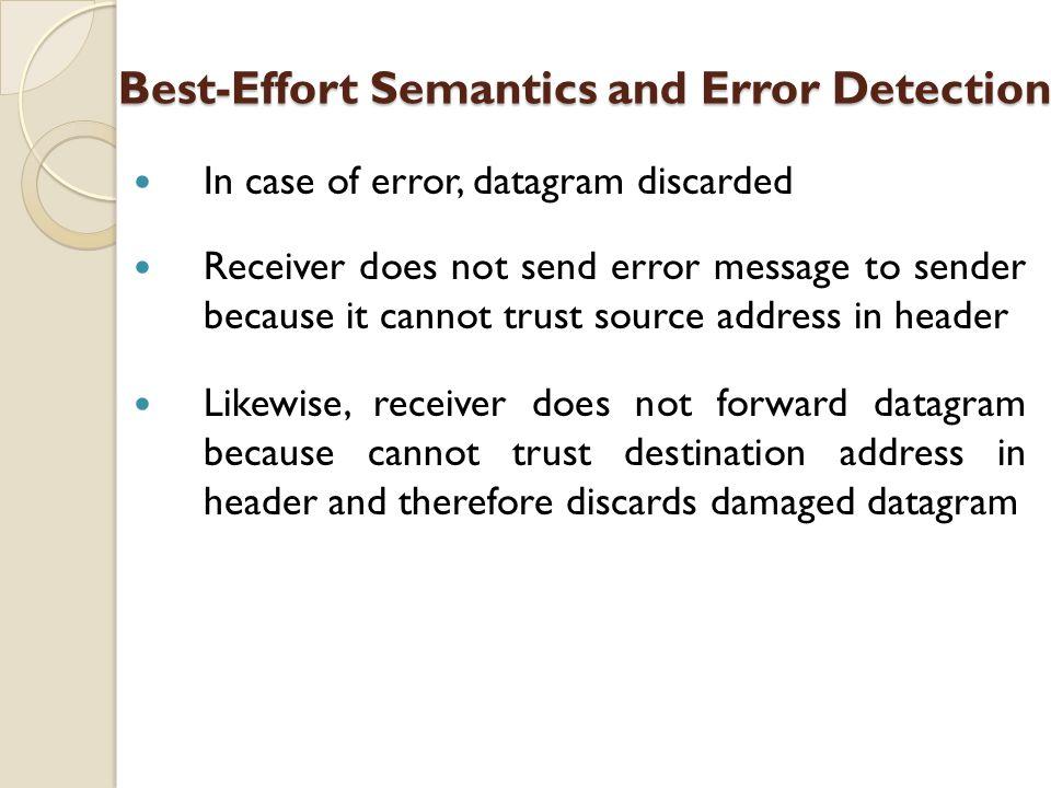 Best-Effort Semantics and Error Detection Best-Effort Semantics and Error Detection In case of error, datagram discarded Receiver does not send error