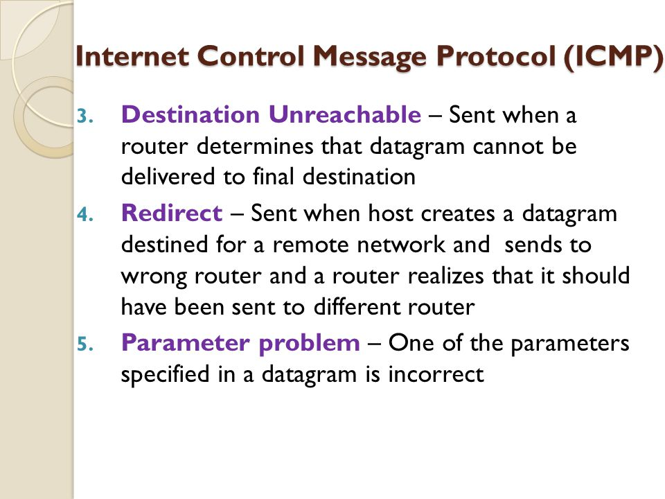 3. Destination Unreachable – Sent when a router determines that datagram cannot be delivered to final destination 4. Redirect – Sent when host creates