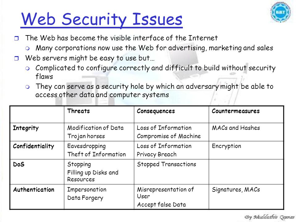Web Security Issues r The Web has become the visible interface of the Internet m Many corporations now use the Web for advertising, marketing and sales r Web servers might be easy to use but… m Complicated to configure correctly and difficult to build without security flaws m They can serve as a security hole by which an adversary might be able to access other data and computer systems ThreatsConsequencesCountermeasures IntegrityModification of Data Trojan horses Loss of Information Compromise of Machine MACs and Hashes ConfidentialityEavesdropping Theft of Information Loss of Information Privacy Breach Encryption DoSStopping Filling up Disks and Resources Stopped Transactions AuthenticationImpersonation Data Forgery Misrepresentation of User Accept false Data Signatures, MACs