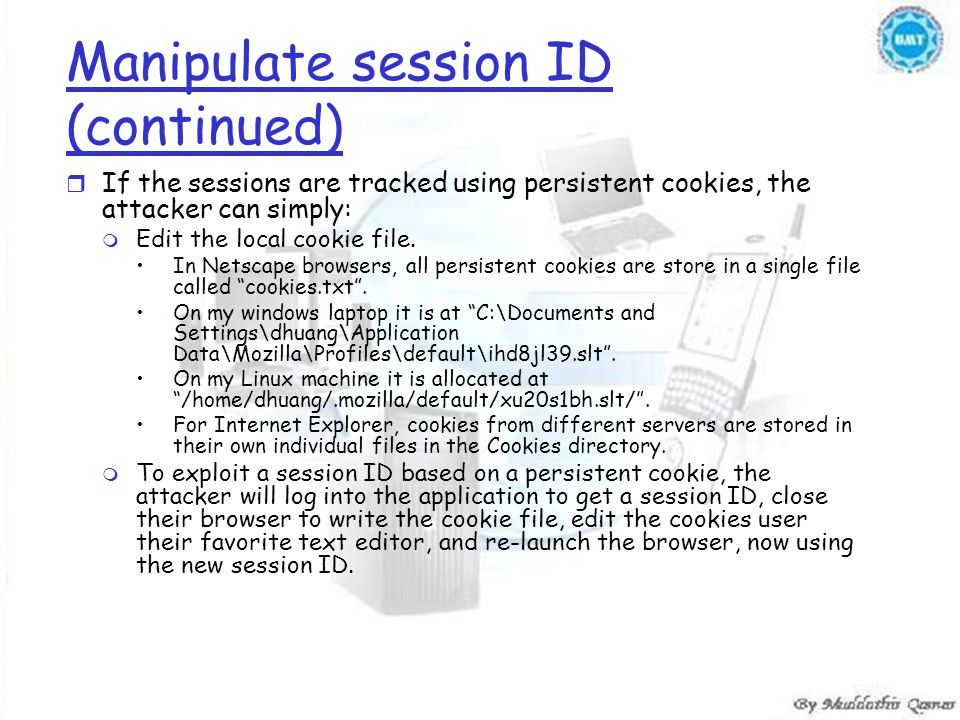 Manipulate session ID (continued) r If the sessions are tracked using persistent cookies, the attacker can simply: m Edit the local cookie file.