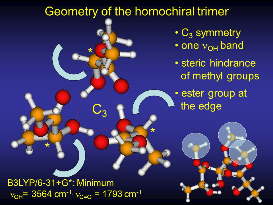 * * * C3C3 Geometry of the homochiral trimer C 3 symmetry one OH band steric hindrance of methyl groups ester group at the edge B3LYP/6-31+G*: Minimum OH = 3564 cm -1, C=O = 1793 cm -1