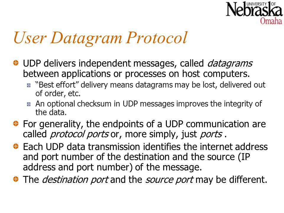 "User Datagram Protocol UDP delivers independent messages, called datagrams between applications or processes on host computers. ""Best effort"" delivery"