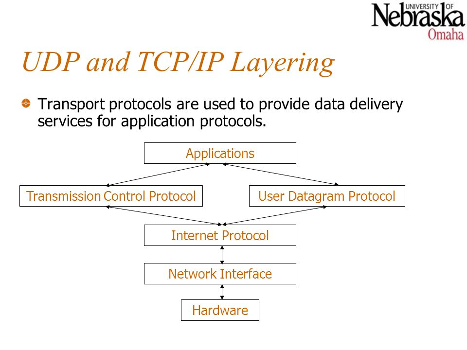 UDP and TCP/IP Layering Transport protocols are used to provide data delivery services for application protocols. Hardware Network Interface Internet