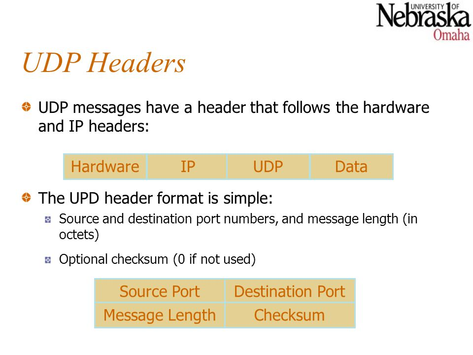 Selecting UDP Port Numbers Communicating computers must agree on a port number The server opens the selected port and waits for incoming messages.