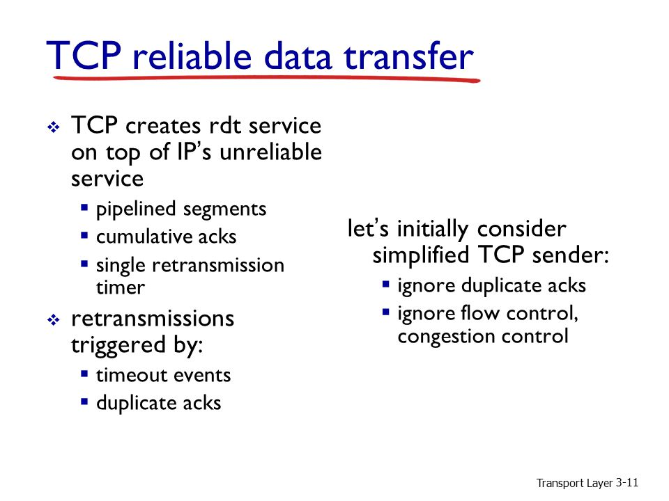 Transport Layer 3-11 TCP reliable data transfer  TCP creates rdt service on top of IP's unreliable service  pipelined segments  cumulative acks  single retransmission timer  retransmissions triggered by:  timeout events  duplicate acks let's initially consider simplified TCP sender:  ignore duplicate acks  ignore flow control, congestion control