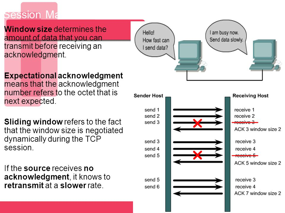 6 Session Maintanance - Flow Control and Windowing Window size determines the amount of data that you can transmit before receiving an acknowledgment.