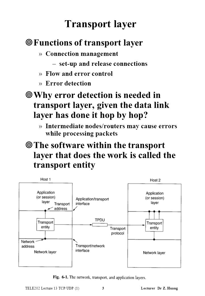 TELE202 Lecture 13 TCP/UDP (1) 3 Lecturer Dr Z. Huang Transport layer ¥Functions of transport layer »Connection management –set-up and release connect