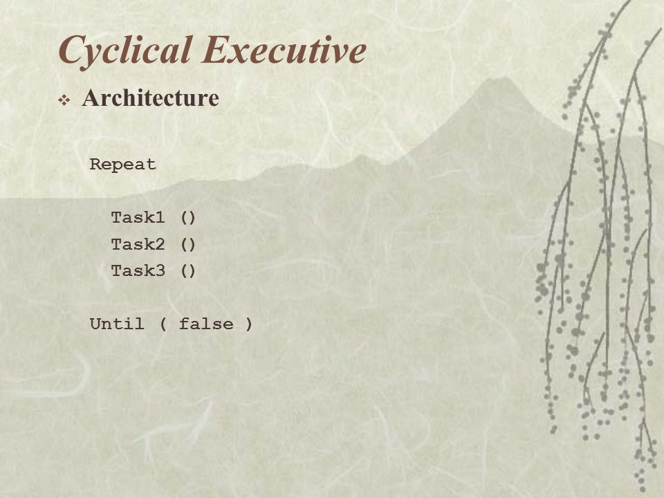 Cyclical Executive  Architecture Repeat Task1 () Task2 () Task3 () Until ( false )