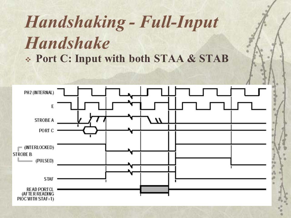 Handshaking - Full-Input Handshake  Port C: Input with both STAA & STAB