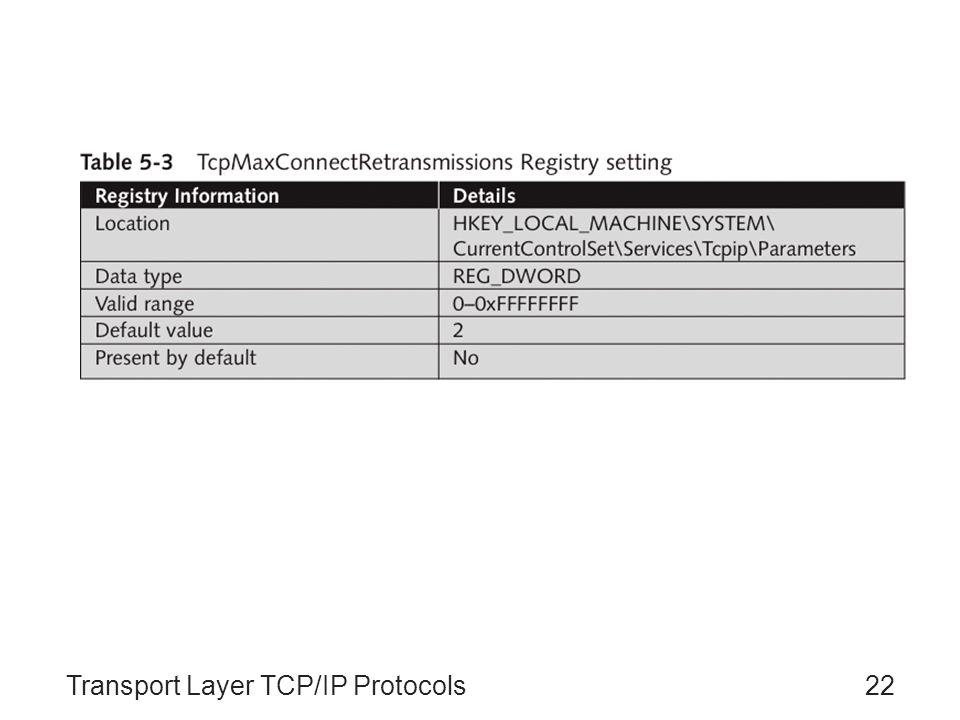 Transport Layer TCP/IP Protocols22