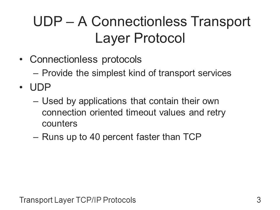 Transport Layer TCP/IP Protocols3 UDP – A Connectionless Transport Layer Protocol Connectionless protocols –Provide the simplest kind of transport ser