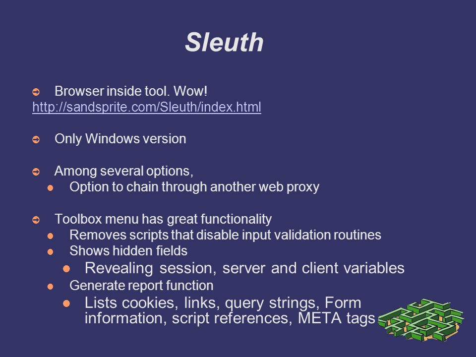 Sleuth ➲ Browser inside tool.Wow.